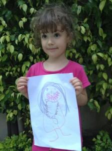 Viki s vlastnou kresbou Swamijiho